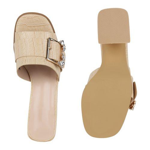 Damen Sandaletten Pantoletten - Beige Kroko