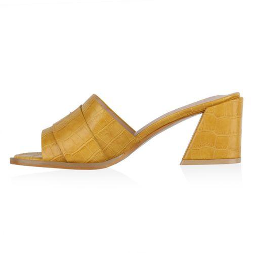 Damen Sandaletten Pantoletten - Dunkelgelb Kroko