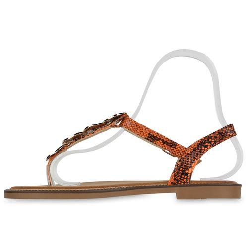 Damen Sandalen Zehentrenner - Schwarz Orange Snake