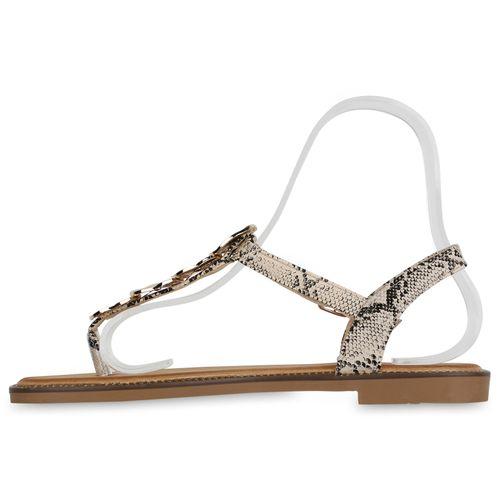 Damen Sandalen Zehentrenner - Creme Schwarz Snake