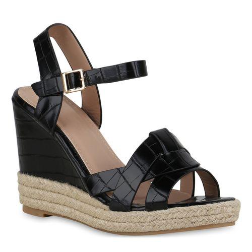 Damen Sandaletten Keilsandaletten - Schwarz Kroko