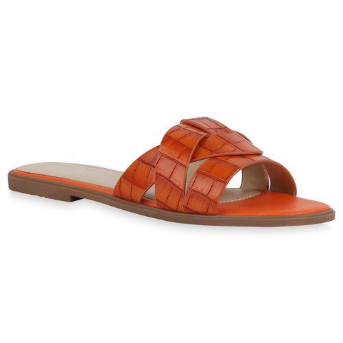 Damen Sandalen Pantoletten - Dunkelorange Kroko