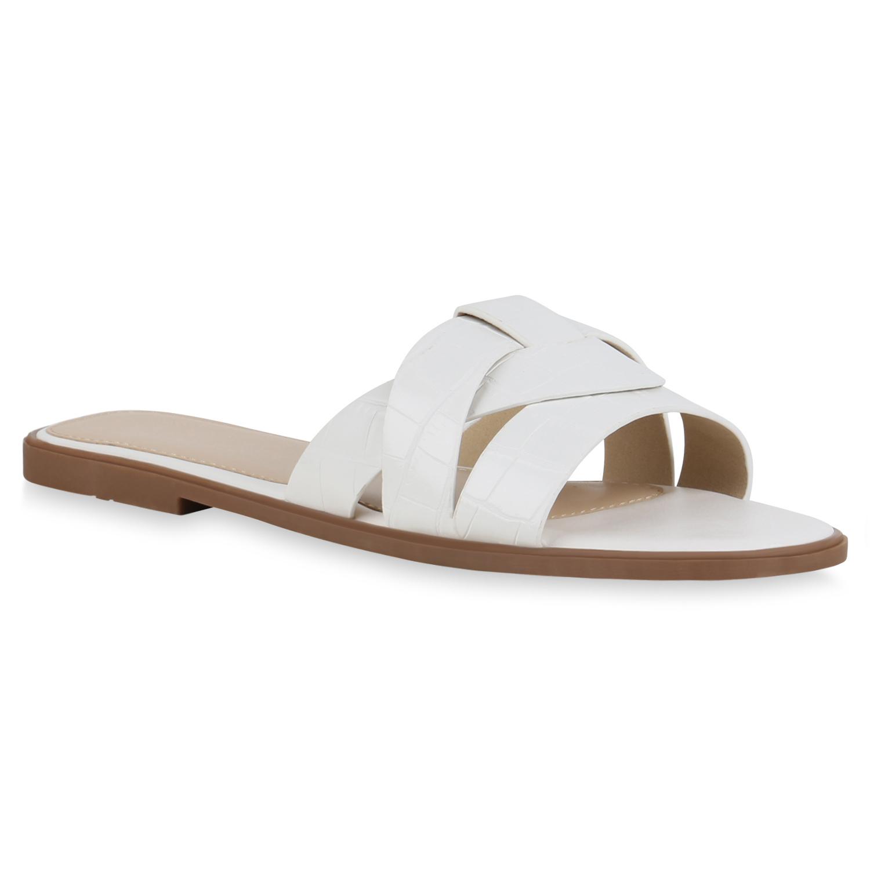 Damen Sandalen Pantoletten - Weiß Kroko