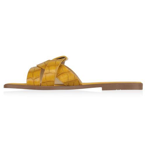 Damen Sandalen Pantoletten - Dunkelgelb Kroko