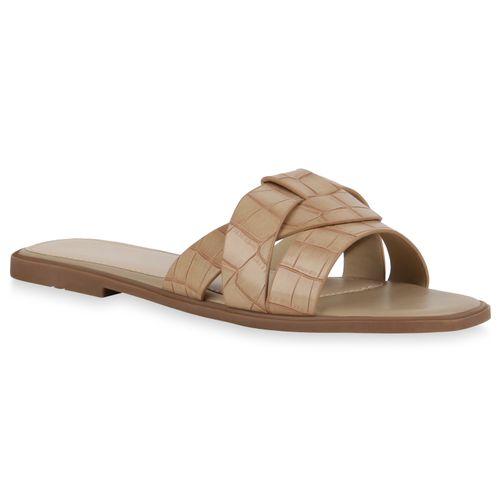 Damen Sandalen Pantoletten - Beige Kroko