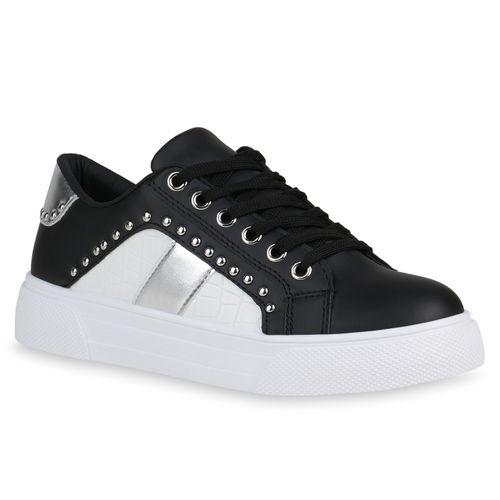 Damen Plateau Sneaker - Schwarz Weiß Silber Kroko