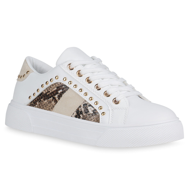 Damen Plateau Sneaker - Weiß Creme Braun Snake