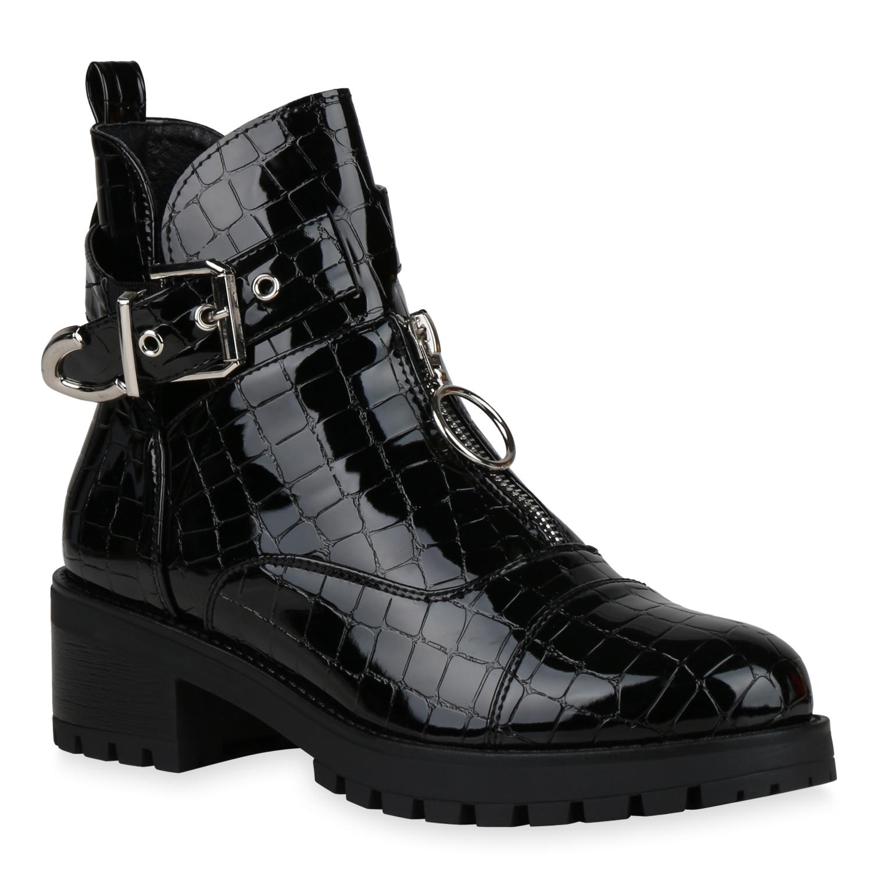 Damen Stiefeletten Ankle Boots - Schwarz Lack Kroko