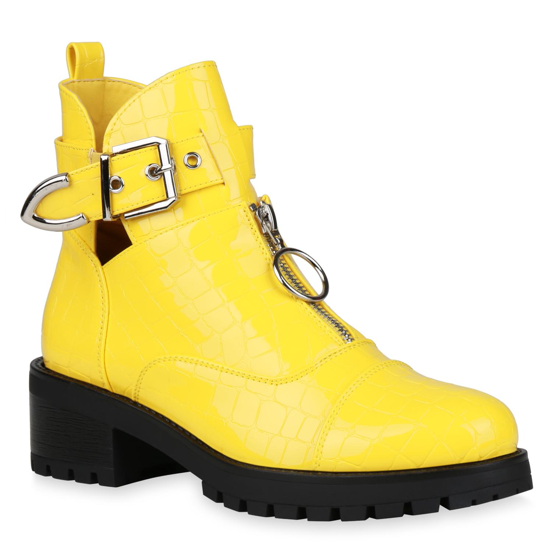 Damen Stiefeletten Ankle Boots - Gelb Kroko Lack