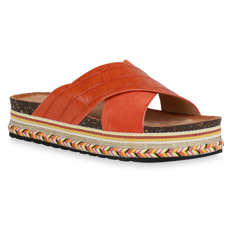 Damen Sandaletten Pantoletten - Dunkelorange Kroko