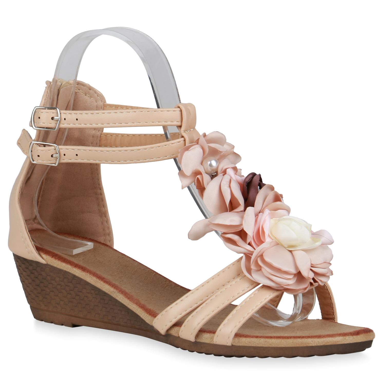 Damen Sandaletten Keilsandaletten - Nude
