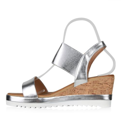 Billig Damen Schuhe Damen Sandaletten in Silber 834957526