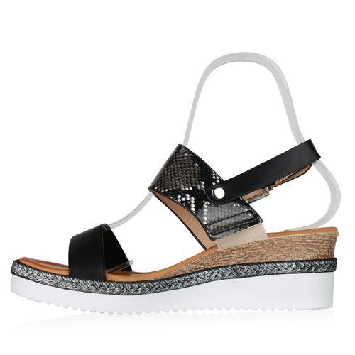 Damen Sandaletten Keilsandaletten - Schwarz Weiß Grau Snake