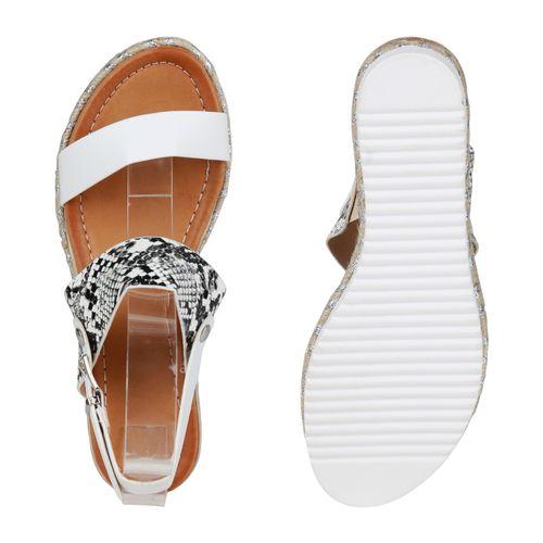 Damen Sandaletten Keilsandaletten - Weiß Schwarz Grau Snake