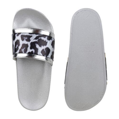 Damen Sandalen Pantoletten - Silber Leo