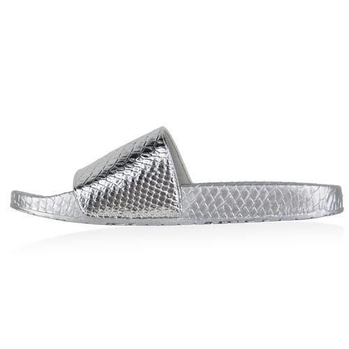 Damen Sandalen Pantoletten - Silber Kroko