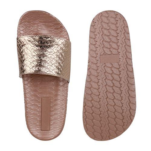 Damen Sandalen Pantoletten - Rose Gold Kroko