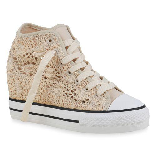 Damen Sneaker Wedges - Creme