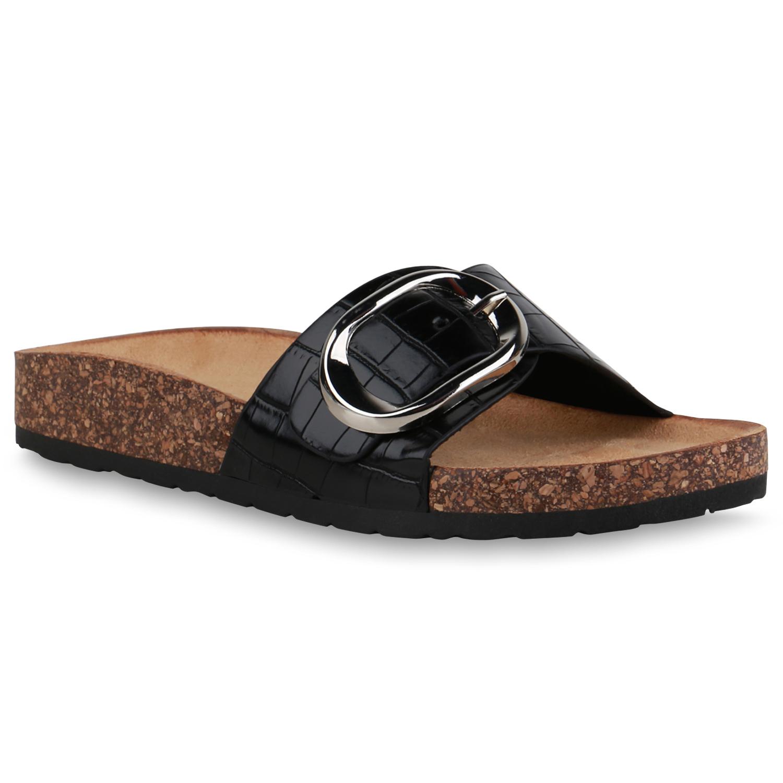 Damen Sandalen Pantoletten - Schwarz Kroko