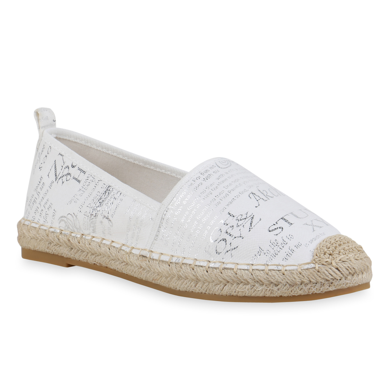 Damen Slippers Espadrilles - Weiß Silber Metallic