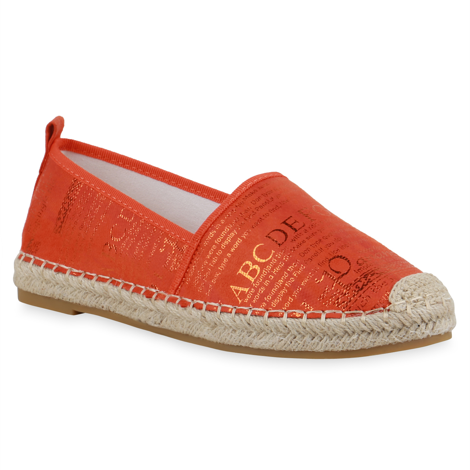 Damen Slippers Espadrilles - Dunkelorange Gold Metallic