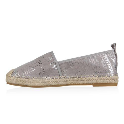 Damen Slippers Espadrilles - Grau Silber Metallic