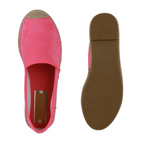 Damen Slippers Espadrilles - Neon Pink