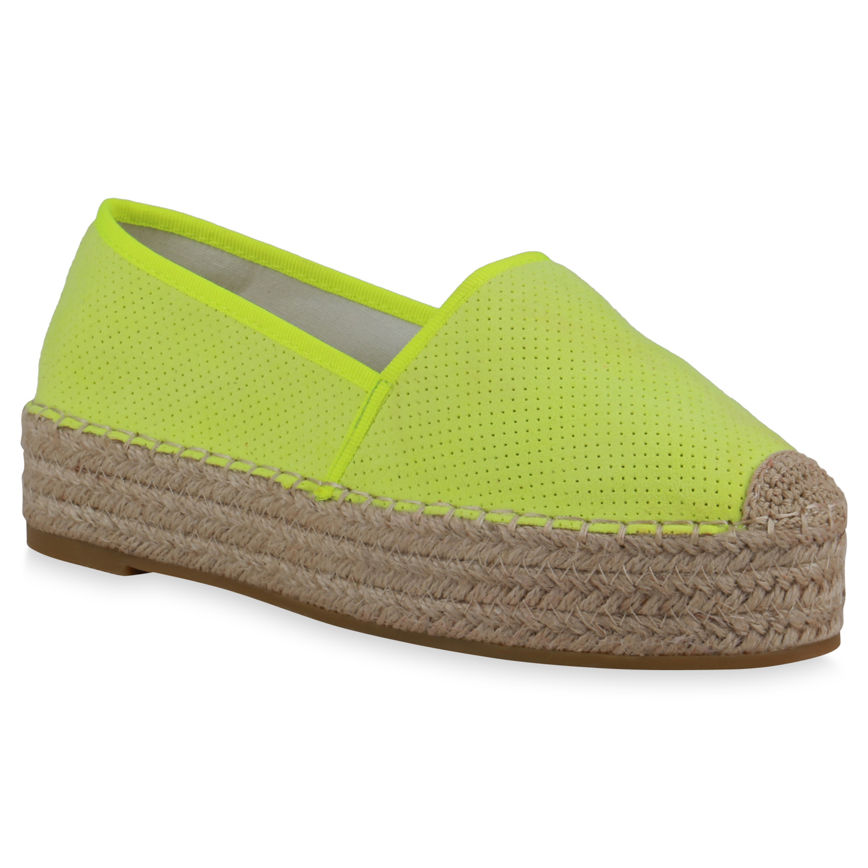 Damen Slippers Espadrilles - Neon Gelb