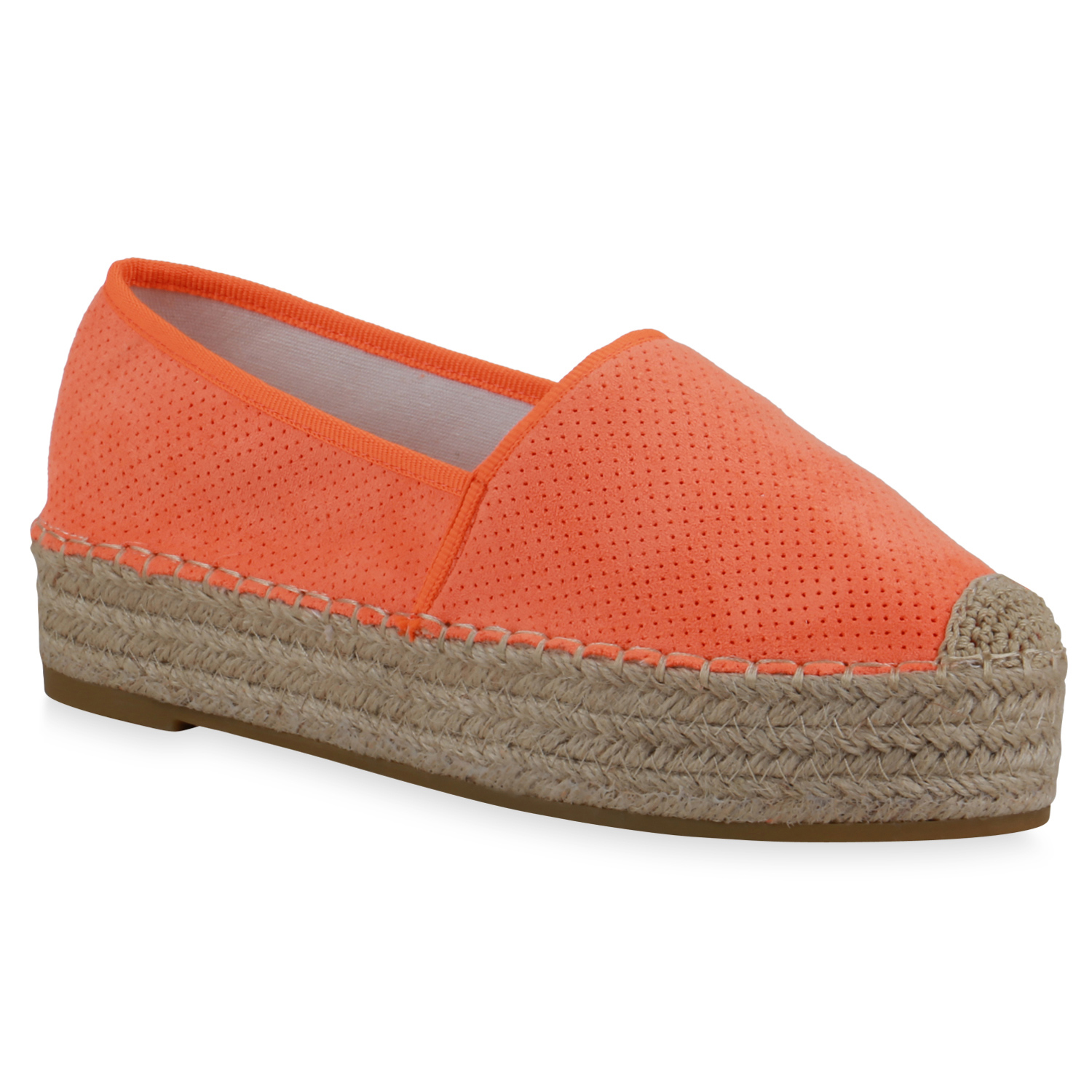 Damen Slippers Espadrilles - Neon Orange
