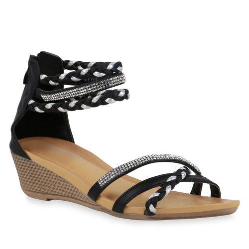Damen Sandaletten Keilsandaletten - Schwarz Silber