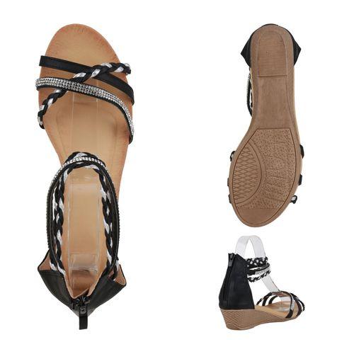 Damen Sandaletten Keilsandaletten - Schwarz Silber Metallic