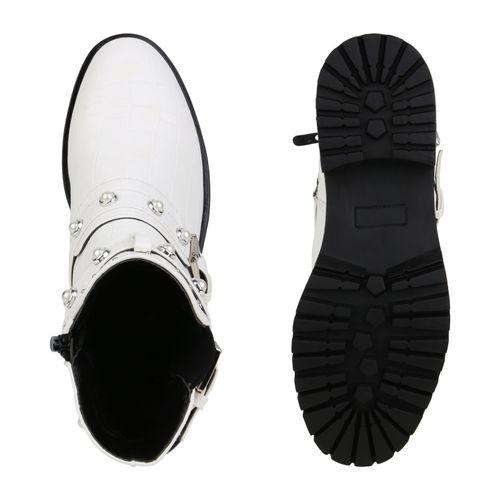 Damen Stiefeletten Biker Boots - Weiß Kroko