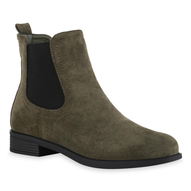 Damen Stiefeletten Chelsea Boots - Olivgrün