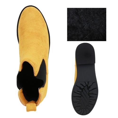 Damen Stiefeletten Chelsea Boots - Dunkelgelb