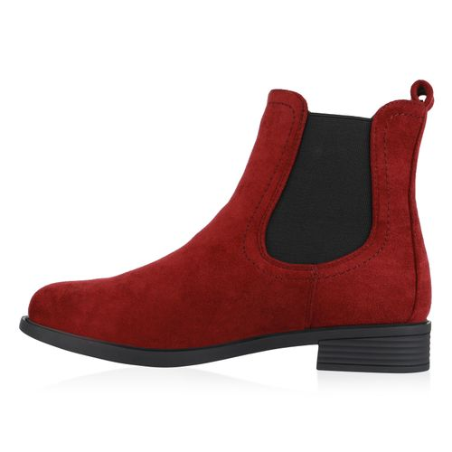 Damen Stiefeletten Chelsea Boots - Burgund