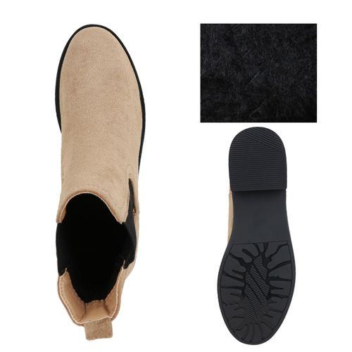 Damen Stiefeletten Chelsea Boots - Tan