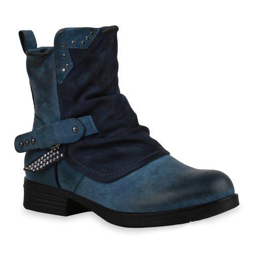 Damen Stiefeletten Biker Boots - Blau Kroko