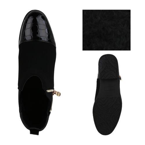 Damen Stiefeletten Chelsea Boots - Schwarz Kroko