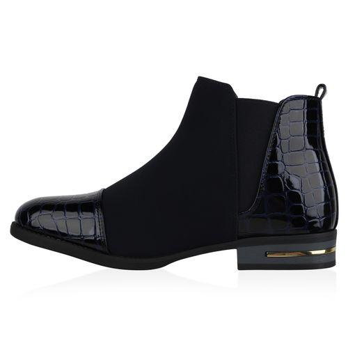 Damen Stiefeletten Chelsea Boots - Dunkelblau Kroko Lack