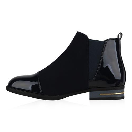Damen Stiefeletten Chelsea Boots - Dunkelblau Lack