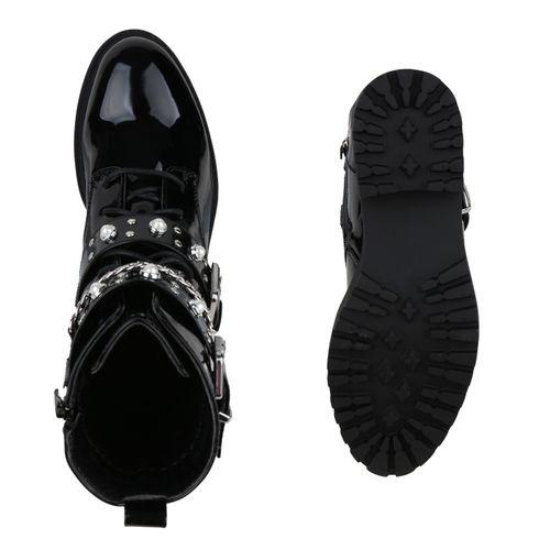 Damen Stiefeletten Schnürstiefeletten - Schwarz Lack