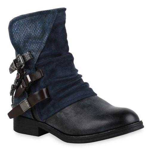 Damen Stiefeletten Biker Boots - Dunkelblau Snake