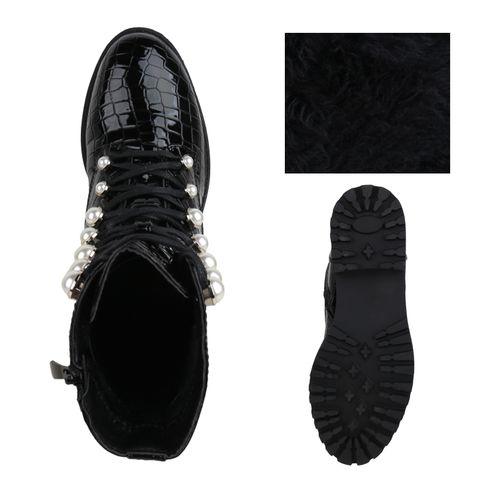 Damen Stiefeletten Schnürstiefeletten - Schwarz Kroko