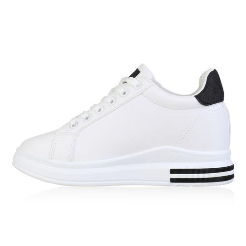 Damen Sneaker Wedges - Weiß Schwarz