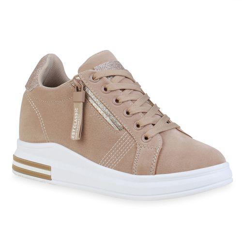 Damen Sneaker Wedges - Beige Gold