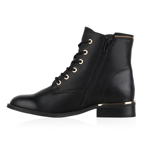 Damen Stiefeletten Schnürstiefeletten - Schwarz Muster