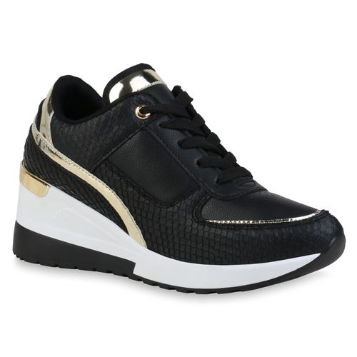 Damen Sneaker Wedges - Schwarz Gold Metallic Snake