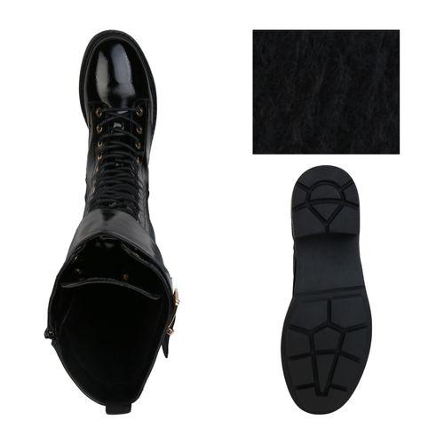 Damen Stiefel Schnürstiefel - Schwarz Lack