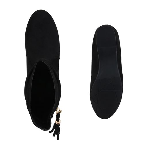 Damen Stiefeletten Keilstiefeletten - Schwarz