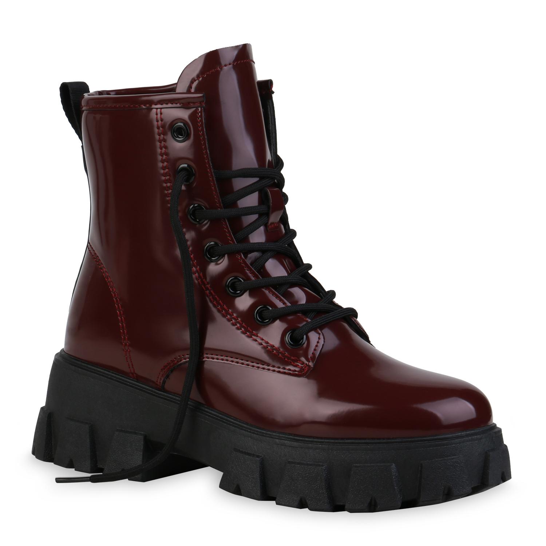 Damen Stiefeletten Plateau Boots - Burgund Lack